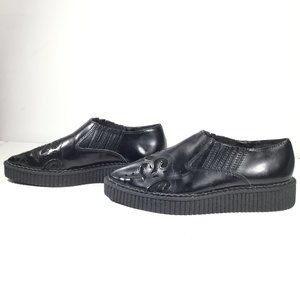 T.U.K. CUT OUT POINTED CREEPERS Flat Black Size 5